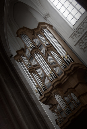 pipe organ: Creepy image of an old pipe organ in a church - Vintage, selective focus