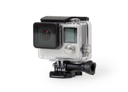 cam gear: High-definition personal camera, isolated on a white background, no brand Stock Photo
