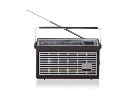 entertainment background: Portable radio isolated on a white background Stock Photo