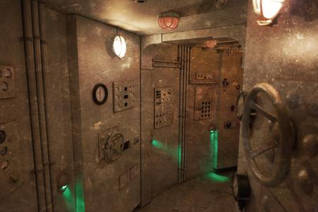 Foto d'epoca - L'interno di un sottomarino - Vecchio e sporco Archivio Fotografico