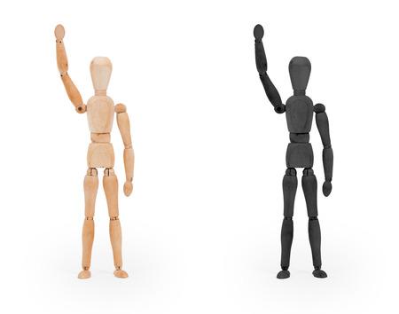 mannequin: chiffre bois mannequin - noir et blanc, isolé