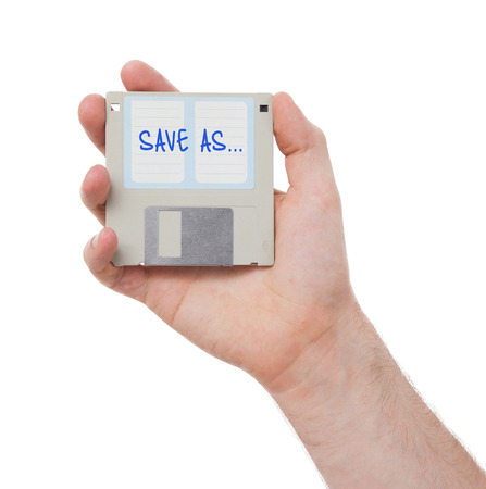 save as: Floppy disk, data storage support, isolated on white - Save as Stock Photo