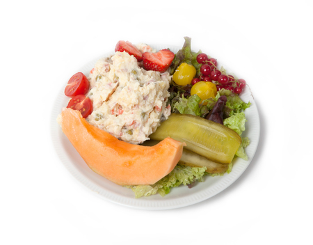 russian salad: Snack time - View of Russian salad on a white plate, isolated