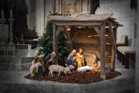 stable: Christmas crib, before Christmas, the crib is empty