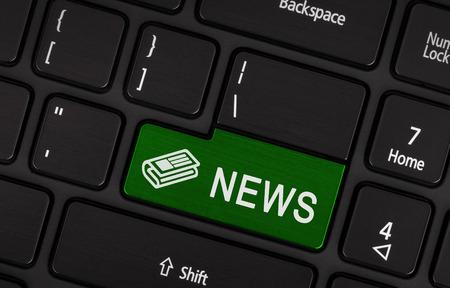 enter button: Close up red enter button written news