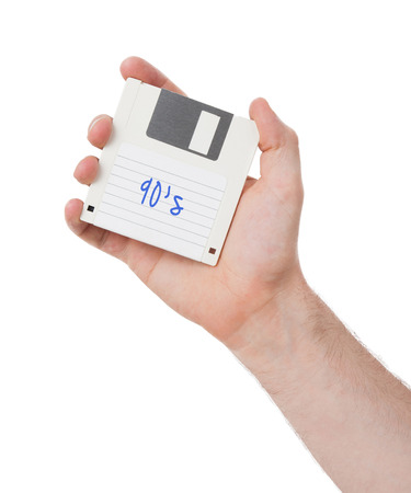 90s: Floppy disk, data storage support, isolated on white - 90s