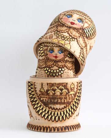 matriosca: Russian wooden doll - Matryoshka - Isolated on white