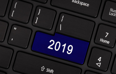 blue button: Laptop keyboard with a blue button 2019