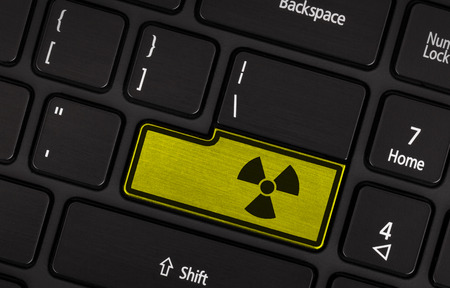 radioactive warning symbol: Symbol on button keyboard, warning (yellow) - radioactive