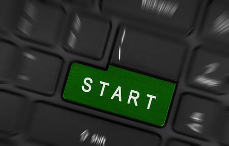 enter key: Message on keyboard enter key that is start