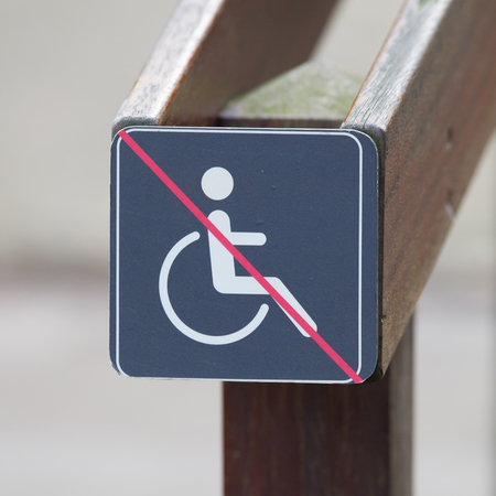 handicapped person: Disabled sign, handicapped person icon at a stairs
