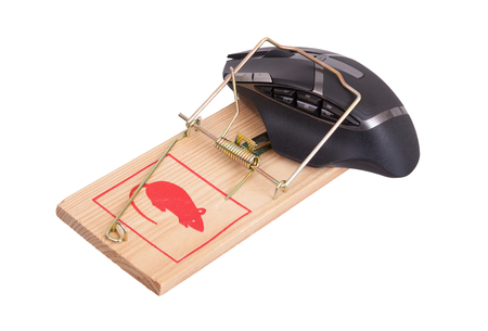 Modern computer mouse in a mousetrap against white background Stock Photo