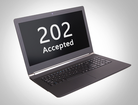 informational: HTTP Status code on a laptop screen  - 202, Accepted