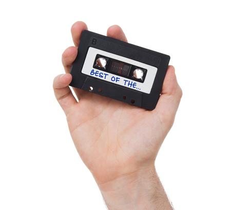 cinta de cassette audio de la vendimia, aislado en fondo blanco, lo mejor de la ...