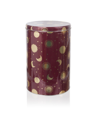 tin: Metal tin kitchen canister, isolated on white