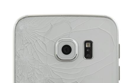 broken back: Smartphone drop to the floor, broken glass (back)