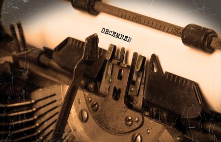 Vintage inscription made by old typewriter - December