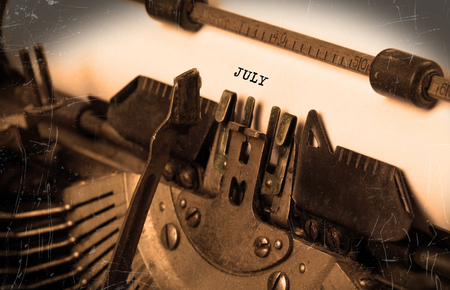 shorthand: Vintage inscription made by old typewriter - July