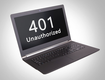 unauthorized: HTTP Status code on a laptop screen  - 401, Unauthorized