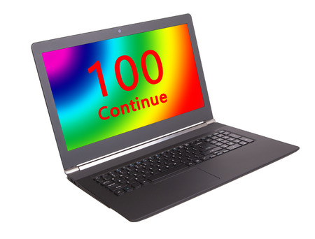 webserver: HTTP Status code on a laptop screen  - 100, Continue Stock Photo