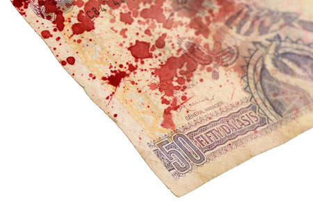 50 Gambian dalasi bank note, selective focus, bloody