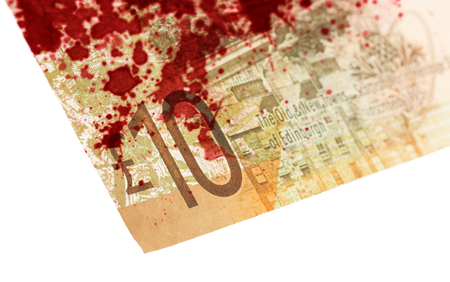 pounds: Scottish Banknote, 10 pounds, isolated on white, selective focus, bloody