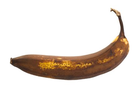 bad banana: Over ripe banana, isolated on white background Stock Photo