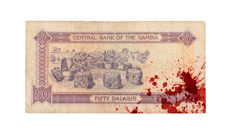 50 Gambian dalasi bank note, isolated on white, bloody
