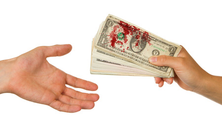 blood transfer: Transfer of money between man and woman, isolated on white, blood