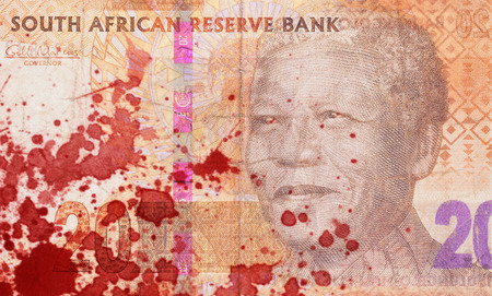 rand: Twenty South African Rand, part of a banknote, blood