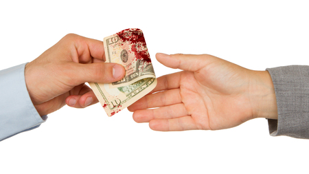 illegal trading: Transfer of money between man and woman, isolated on white, blood