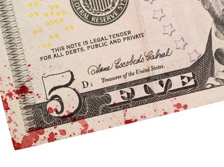five dollar bill: US five Dollar bill, close up photo, blood