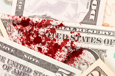 five dollar bill: US one Dollar bill, close up photo, blood
