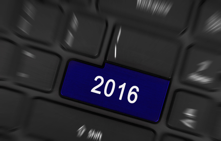 blue button: Laptop keyboard with a blue button 2016 Stock Photo