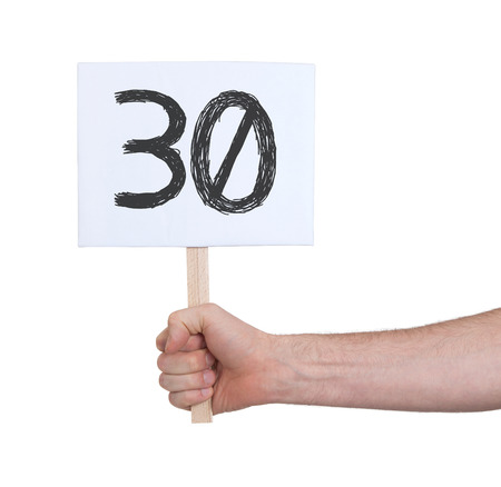 studding: Sign with a number, isolated on white - 30 Stock Photo