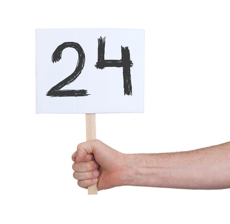 numeracy: Sign with a number, isolated on white - 24 Stock Photo