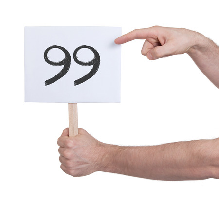 99: Sign with a number, isolated on white - 99