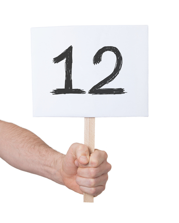 numeracy: Sign with a number, isolated on white - 12