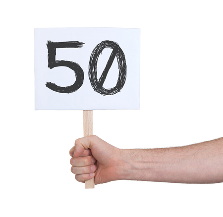 number 50: Sign with a number, isolated on white - 50 Stock Photo
