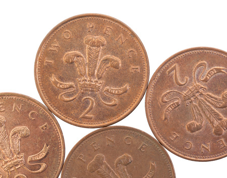 pence: Two Pence coins isolated over a white background