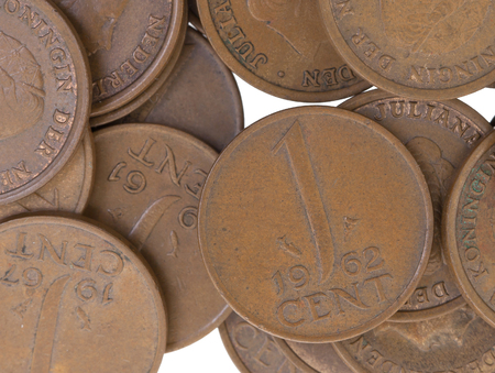beatrix: Old dutch cent coins, isolated on white, selective focus