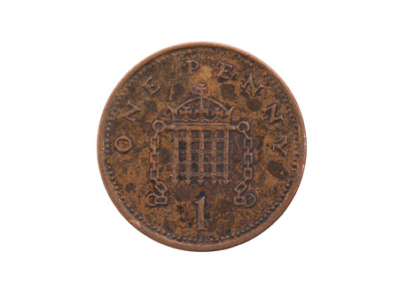 Old penny coin isolated on a white background