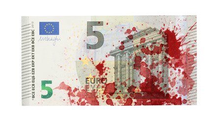 banknote: Close-up of a 5 euro bank note, isolated, stained with blood