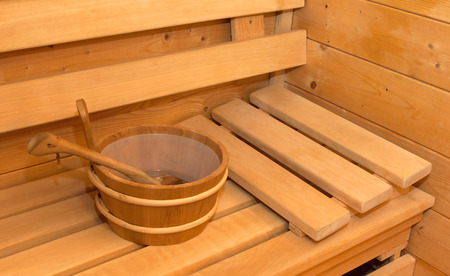 Interior of small home Finnish wooden sauna Stock Photo - 53689762