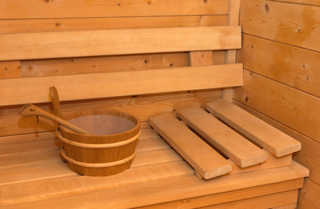 finnish bath: Interior of small home Finnish wooden sauna