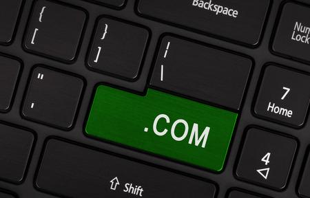 suffix: Computer key on modern laptop, green - .com