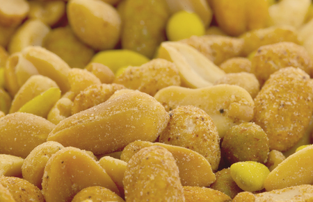 goody: Fresh mixed salted nuts for backgrounds, peanut mix Stock Photo