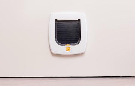 Vista interior de una puerta para gatos blanca regular en la puerta de la luz, la solapa cerrada Foto de archivo