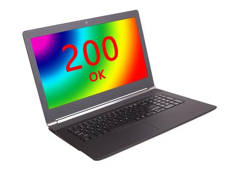webserver: HTTP Status code on a laptop screen  - 200, OK Stock Photo
