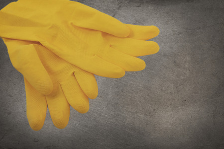no person: Vintage image - Yellow cleaning gloves, no person